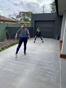Two people playing handball
